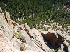 Rock Climbing Photo: Looking down from the final pitch. The shaded boul...
