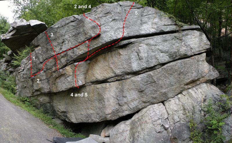 The Nameless Boulder: 1. Unnamed UA #1 (V1), 2. Marrakesh Express (V6), 3. Unnamed UA #2 (V3), 4. [[Nameless Traverse (V2)]]106529771, 5. [[Nameless Traverse II (V2)]]106529784