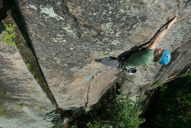 Jamie McNeill sends the FA of Plumb Line, 5.10c, at the Black Arches Wall.<br> A fingertip crack and fingernail crimps, bumps and dynos are standard fare on this steep line.