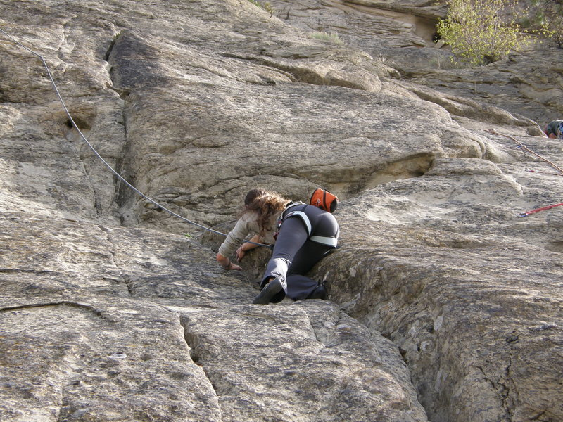 Moving up the crack to the first pitch, then on to Lightening Crack