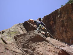 Rock Climbing Photo: Roof of P1 Tagger Eldorado Canyon, CO