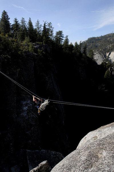 Rock Climbing Photo: Michael McKay on the Rostrum tyrolean.