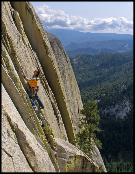 Rock Climbing Photo: Chris Brown on P1 of Spook Book, as taken from The...