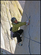 Rock Climbing Photo: Angelina hand traversing on the thin flake near th...