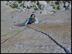 Rock Climbing Photo: Angelina following P1 of Bony Fingers.  What an in...