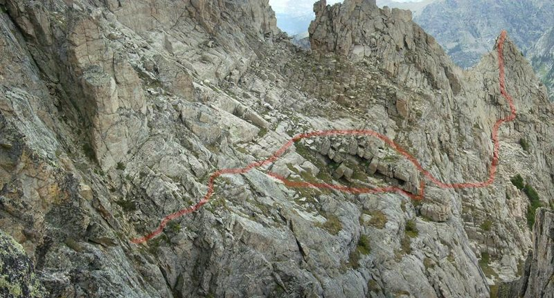 Rock Climbing Photo: Ridge north to Lone Eagle, from the first notch.  ...
