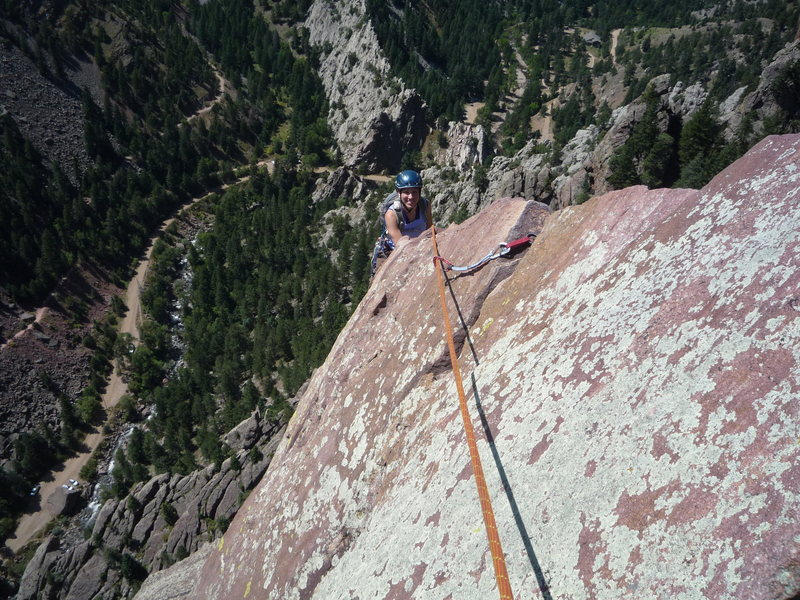 Suzanne Shroader nearing the top.