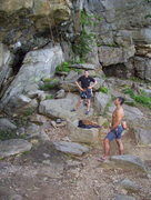 Rock Climbing Photo: Jason and Chris at the base of Fisherman's Wall. C...