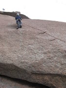 Rock Climbing Photo: Kenny Parker clipping 2nd Bolt on Fuzzy thinking a...