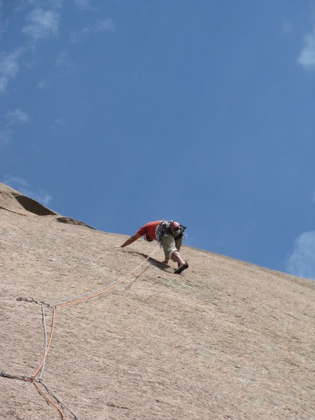 Rock Climbing Photo: Starting the traverse of Pitch Two. Pretty excitin...