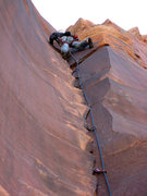 Rock Climbing Photo: Dan Snyder on the FA of the 4th pitch.