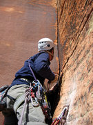 Rock Climbing Photo: Robbie Colbert on the FA of the 5th pitch.