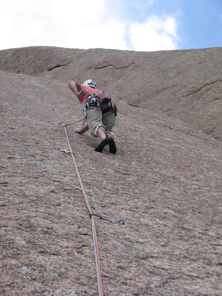 Chuck Graves starting up last pitch - 14 bolts - steep and hard.