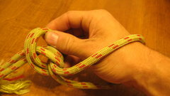Rock Climbing Photo: Loosen the overhand by separating the two strands ...