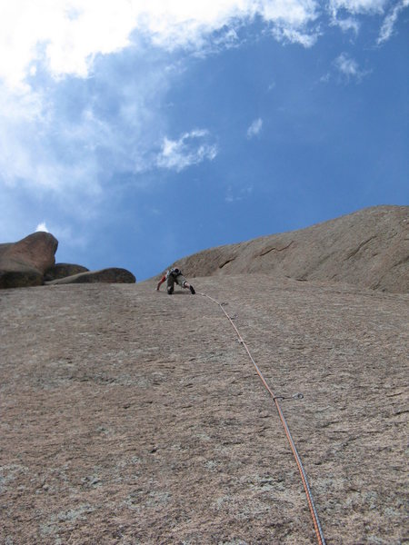 Rock Climbing Photo: Chuck Graves still moving up on Pitch 4.  Pretty e...