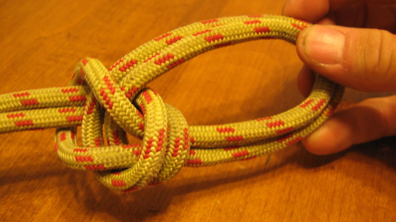 Rock Climbing Photo: The finished knot.  The two strands that are in my...