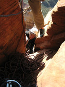 Rock Climbing Photo: Bill Ohran coming to the top of the 6th pitch.