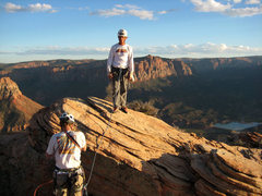 Rock Climbing Photo: Dan Snyder on the summit after the FA of the Force...