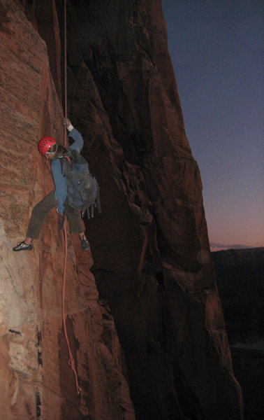 Bill Ohran on the rappel from the 4th pitch to the 2nd pitch and almost to the end of the 70m rope.