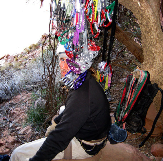 Rock Climbing Photo: Bill Ohran hiding behind the rack we used for the ...