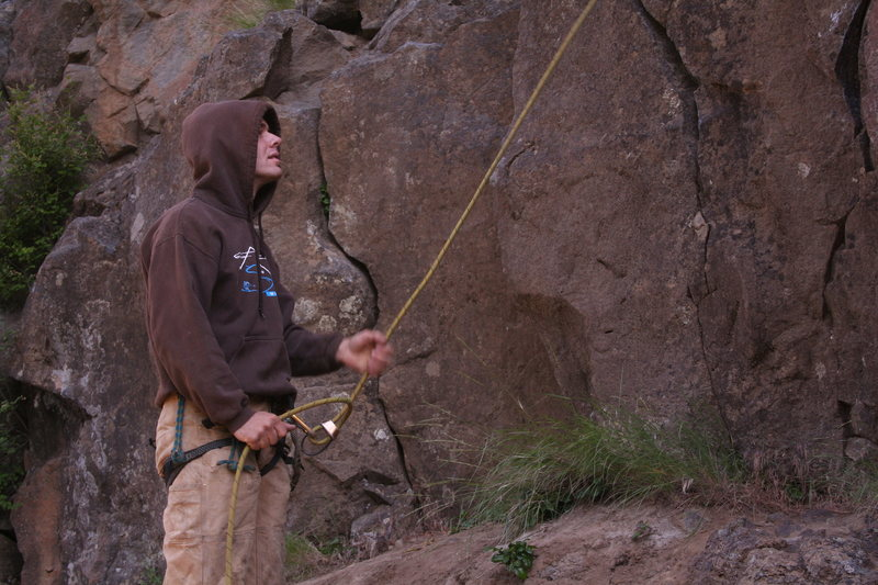 Rock Climbing Photo: George on belay, like a champ.