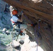 "Rock Climbing Photo: Rich hanging around between 1/4"" bolt drillin..."
