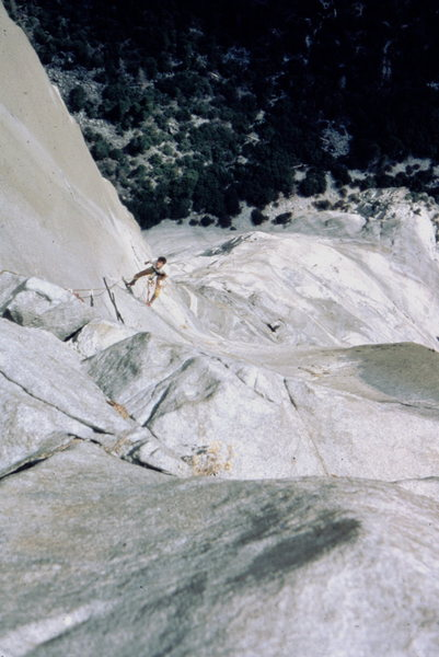 Rock Climbing Photo: Mike Lowe at the base of the Pancake Flake, The No...