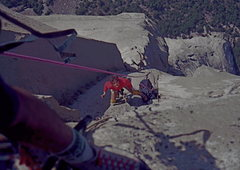 Rock Climbing Photo: The Nose, looking down from the last pitch