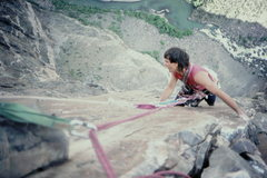 Rock Climbing Photo: The crux face traverse, upper pitches