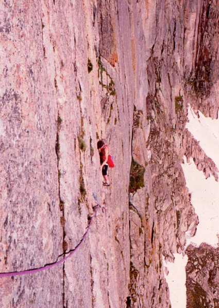Mike Lowe on the Casual Route traverse, lower pitches