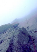 Rock Climbing Photo: Into the fog on the upper dihedrals of King of Swo...