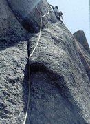 Rock Climbing Photo: Crux pitch, Childhoods End, Big Rock