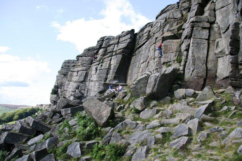 Climbers on Black Slab Buttress