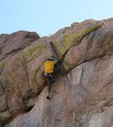 Rock Climbing Photo: Fun roof move.
