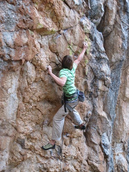 Rock Climbing Photo: Matt using tall man beta on his flash of Forever I...