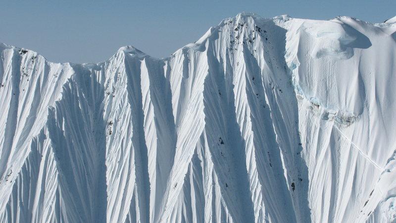Knife edge ridge lines and steep terrain dominate