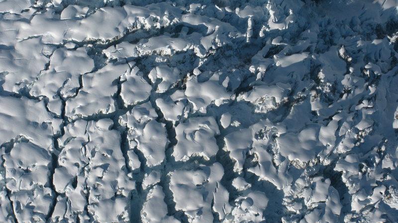 Looking down on a glacier