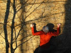 Rock Climbing Photo: Jamie McNeill races a late autumn sunset while wor...