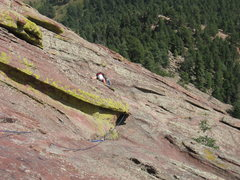 Rock Climbing Photo: Crystal Neely closing in on the summit arete.