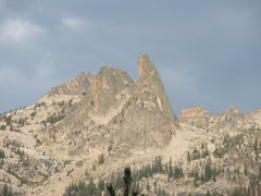 Rock Climbing Photo: View of the Finger from unnamed lake along approac...