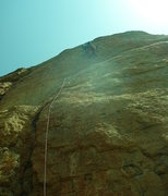 Rock Climbing Photo: Near the end of the bulging crux. Photo by Paul Re...