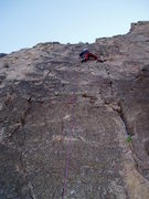 Rock Climbing Photo: Opportunist climbs the face left of the crack, usi...