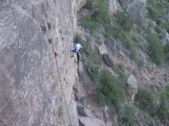 Rock Climbing Photo: Rappelling down just right of Swiss Cheese.