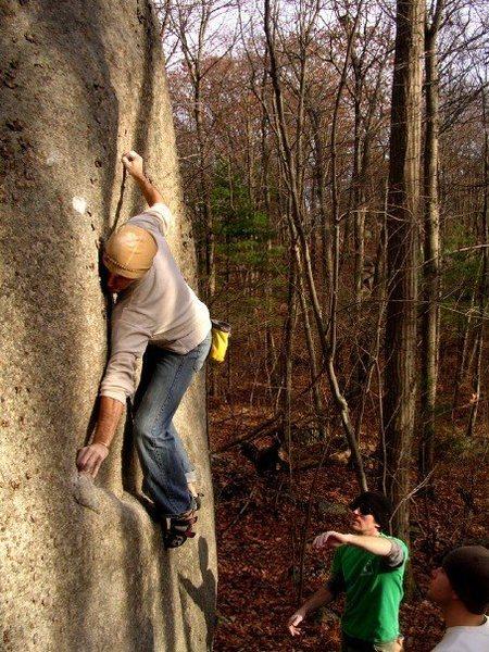 Rock Climbing Photo: Techy slab mantle.