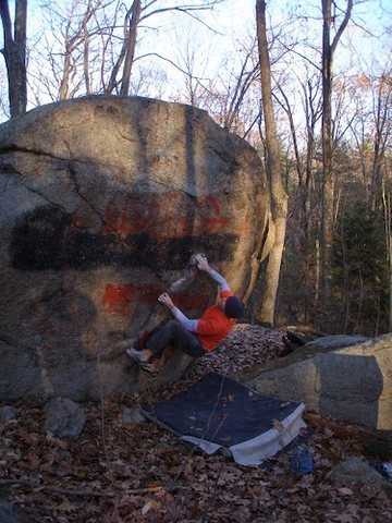 Rock Climbing Photo: Joe McLoughlin on Turpentine on the Graffiti Bould...