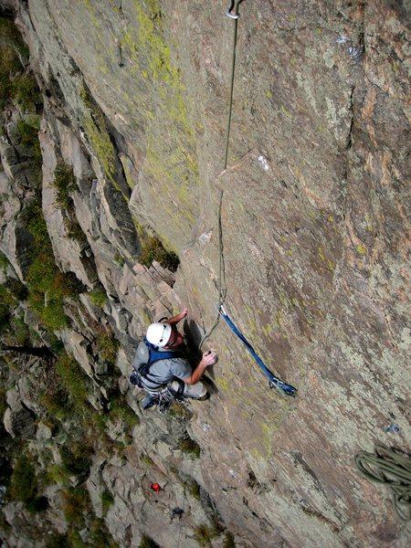 Rock Climbing Photo: Derek finishing P1, on the FFA.