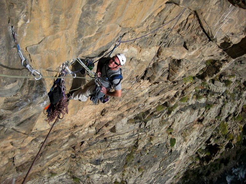 Rock Climbing Photo: Starting out P4 on the FA. Derek at the exposed &q...