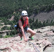 Rock Climbing Photo: Eileen Monyok arrives at the top of pitch 6, south...