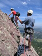 Rock Climbing Photo: Eileen starts the final lead off of Kiddy Kar ledg...