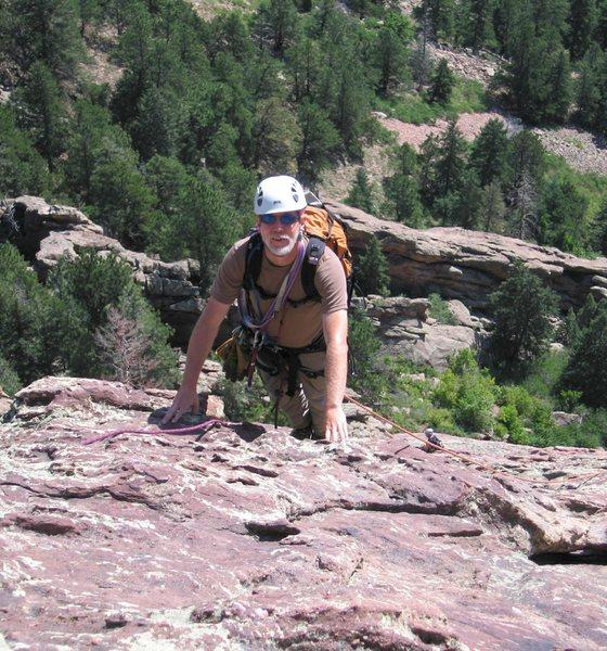 Rock Climbing Photo: Rick Pratt approaches the 4th eyebolt.
